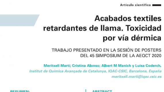 CSIC-IQAC published a paper on dermal toxicityof flame retardants